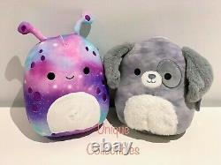 Squishmallows Gustavus Puppy Dog & Daxxon Galaxy Alien 8 Plush Bundle NEW