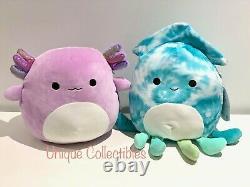 Squishmallows Monica Axolotl and Landon Squish 10 Plush Bundle Brand New