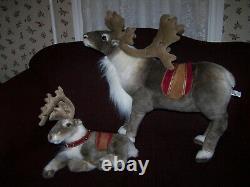 Sterling Inc 6 REINDEER PLUSH Stuffed LIFELIKE Poseable Christmas LARGE 30 +17