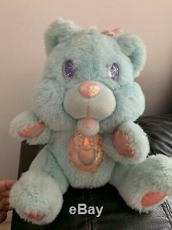 Twinkle Bear Blue Plush 1995 Fantasy Ltd. Lights Up Push Nose & Tongue Working