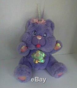 Twinkle Bear Purple Plush 1995 Fantasy Ltd. Lights Up Push Nose & Tongue Working