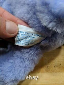 Twinkle Bear Purple Plush 1995 Lights Up Push Nose & Tongue Working GREAT SHAPE