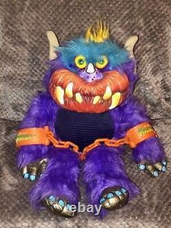 Ultra Rare Vintage 1986 My Pet Monster Beastur Plush AmToy Handcuffs Hard Face