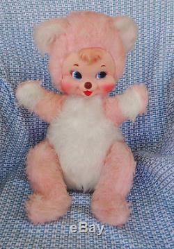 VHTF Vintage 17 Rushton Rubber Face Pink Plush Chubby Happy Teddy Bear EC