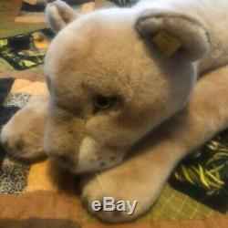VINTAGE JUMBO STEIFF LAYING DOWN PUMA / TIGER CUB PLUSH 39 Inches Long EXC COND