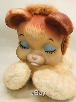 VINTAGE RUSHTON RUBBER FACE Sleeping RARE TEDDY BEAR PLUSH Stuffed TOY