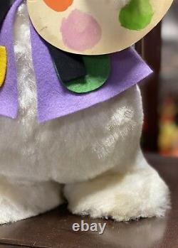 VINTAGE RUSHTON Rubber Face Rabbit Artist Bunny Doll Plush Excellent Rushton HTF