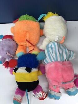 VTG 1980s Mattel LOT 5 Popples Plush Toys Orange Baby Cribsy Soccer 80s Used