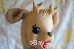 VTG Rushton Rubber Face Stuffed Animal DEER Plush 50's 16 Reindeer Christmas