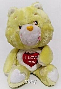 Very Rare Vintage 1980s UK Charities I LOVE YOU CARE BEAR Plush Stuffed Animal