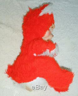 Vintage 12 Rushton Rubber Face Faced Plush Red Pouting Crying Bear w Tag