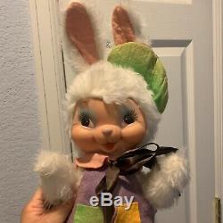 Vintage 16 Inch Rushton Rubber Face Plush Artist Painter Bunny Rabbit Doll