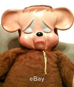 Vintage 1950's Knickerbocker Pouting Teddy Bear Plush Rubber Face 23