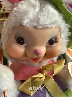 Vintage 1950s RUSHTON Stuffed Plush Easter Rubber face Bunny Rabbit Painter