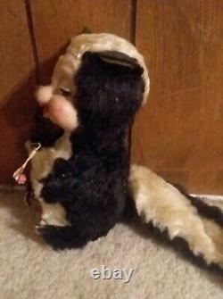 Vintage 1950s Rushton Plush Skunk- 8 Tall- Stuffed Animal Rubber Face