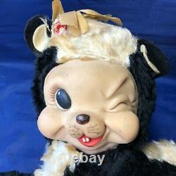 Vintage 1950s Rushton Stinky Skunk Rubber Face Plush Stuffed Animal Eye Wink
