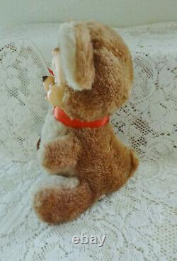 Vintage 1978 Rushton 9 Plush Brown Crying Teddy Bear w Booklet and Body Tag