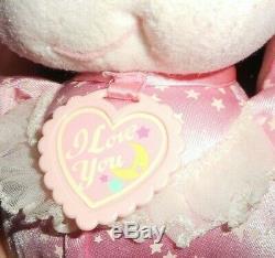 Vintage 1989 Mattel Pj Sparkles Sparklin Pink Baby Bunny Stuffed Animal Plush