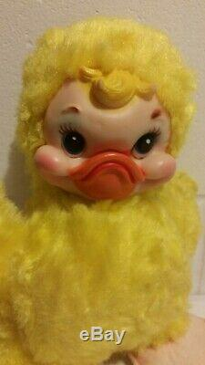 Vintage 50s RUSHTON Yellow Duck Chick Rubber Face Plush 10 Tall WithTag