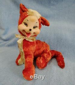 Vintage 9 Rushton Rubber Face Faced Plush Orange Fox w Body Tag