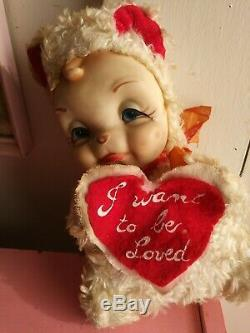 Vintage 9 Rushton Rubber Face Plush Valentine Crying Bear 1950s stuffed animal