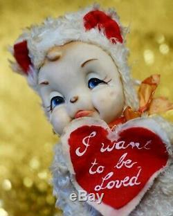 Vintage 9 Rushton Rubber Face Plush Valentine Crying Bear Stuffed Animal 1950s