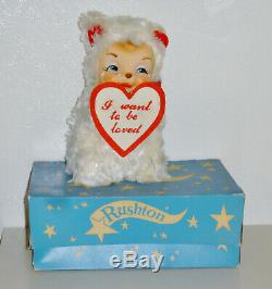 Vintage 9 Rushton Rubber Face Plush Valentine Crying Bear w Tag & Box EXCELLENT