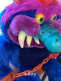 Vintage AmToy My Pet Monster 24 Plush StuffedAnimal 1986 with Handcuffs Very Nice