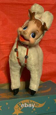Vintage Christmas Rushton Santa Rudolph Reindeer -White Plush Deer -Origil Box
