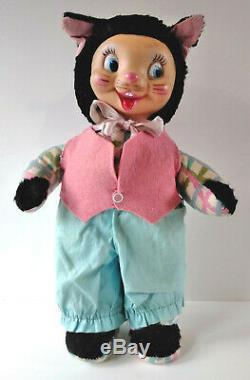 Vintage Early Gund Rubber Face Plush Easter Bunny Rabbit Cat Girl Rushton Stuff