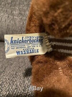 Vintage Knickerbocker Sad Face Teddy Bear Plush 10 1960s Kitsch