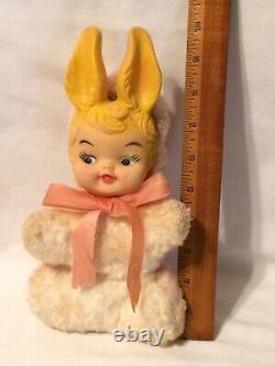 Vintage MY TOY Plush Rabbit Child Rubber Face & Ears Doll Easter Bunny 1964