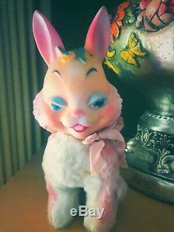 Vintage RARE Rubber Face Bunny Rabbit Stuffed Toy Plush