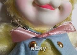 Vintage RUSHTON Plush Rubber Face Bunny Yellow Blue Vest 1950's / 1960's RARE