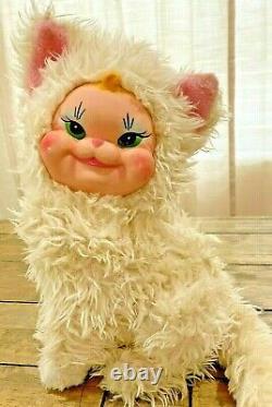 Vintage RUSHTON RUBBER FACE KITTY CAT Kitten Plush GREEN EYES 10 Rare Design