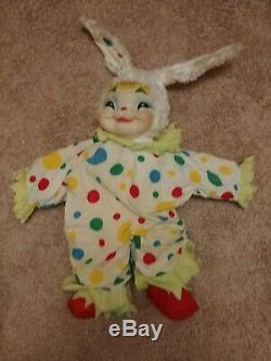 Vintage Rare Rubber Faced Plush Toy Rushton Clown Bunny rabbit Stuffed Animal