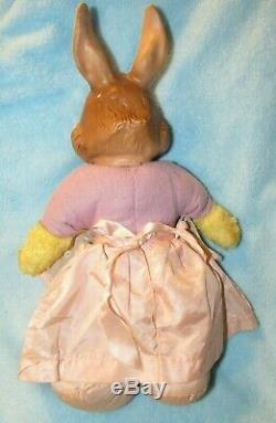 Vintage Rubber Face Plush Bunny Rabbit Ideal Doll In Dress Bear Rushton Gund Toy