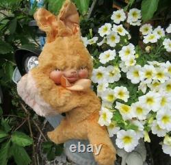 Vintage Rubber Face Plush Bunny Rabbit Pink Yellow Teddy Bear Toy Rushton Gund