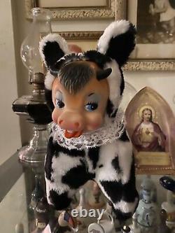 Vintage Rubber Face Plush Dairy Cow