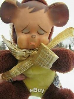 Vintage Rubber Face Plush Pouting Sad Teddy Bear Toy Knickerbocker Rushton Mytoy