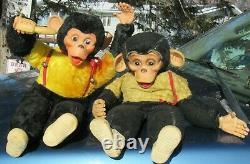 Vintage Rubber Face Plush Rushton Yellow Monkey Chimp Tippy Toy 16 Pink Rooster