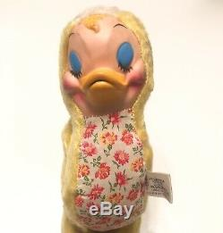 Vintage Rubber Plastic Face Duck Chick Stuffed Plush Toy