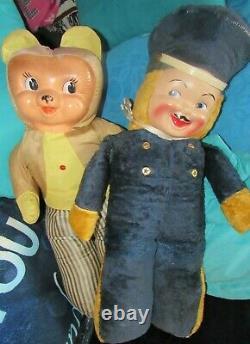 Vintage Rubber Plastic Face Plush Rabbit Bear Toy Cloth Doll Rare Gund Rushton