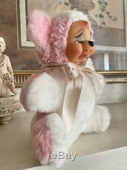 Vintage Rubber face Plush Crying Bear