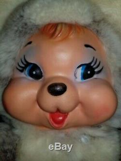 Vintage Rubber smile face happy bear Plush 16 Rare Rushton type face