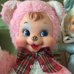 Vintage Rushton 18 Stuffed Plush Rubber Happy Face Pink Bear by DHL From Japan