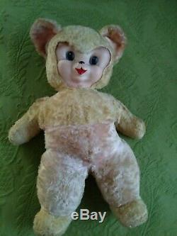 Vintage Rushton Bear Plush Pink Yellow Rubber face Teddy Stuffed animal 20