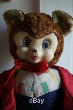 Vintage Rushton Brown Bear Plush Rubber face Teddy Stuffed animal 20 50s