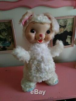 Vintage Rushton Bunny Rabbit Rubber Vinyl Face Stuffed Animal Plush 1950's toy