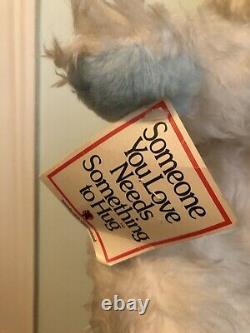 Vintage Rushton Co Plush Stuffed Bear Rubber Face Blue White with TAG